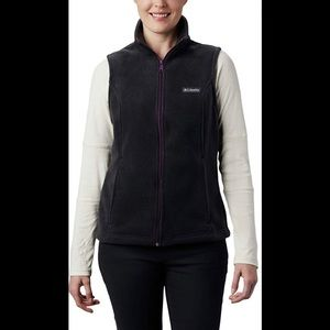 COLUMBIA Black Fleece Full-Zip Vest XL